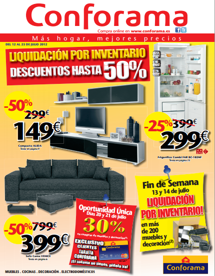 En el folleto de conforama ofertas sobre electrodom sticos for Folletos de muebles